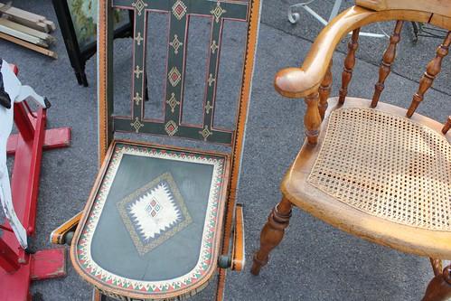 beautiful handpainted chair + love the wicker seat   by Ana Maria Munoz // Anamu