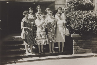 Newcastle University College library staff - Back Row: Pam Glock, Katie Hudson, Betty Lorenc, Janet Brice. Front Row:  Pat Flowers (visiting), Margaret Scott (nursing Karl Flowers), Wendy Waldon, Lurline Markham, Newcastle, Australia - 1960 | by Auchmuty Library, UON