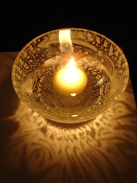 Candle Bowl  glass engraving 2007