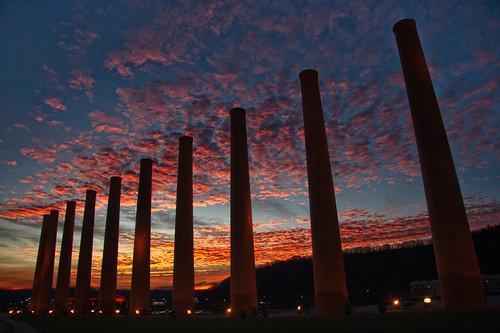 sunset sky clouds colorful pittsburgh glow waterfront stacks