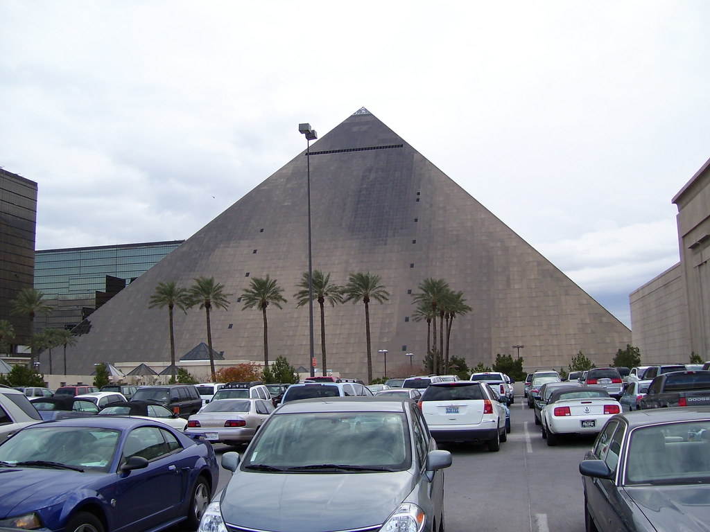 The Luxor from the parking garage | The rear view of the Lux