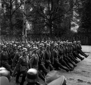 German troops parade through Warsaw