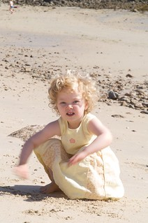 Elizabeth on the beach at Old Grimsby - Tresco