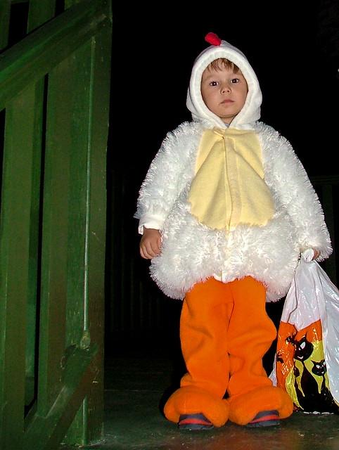 Axel en poulet, en haut de l'escalier
