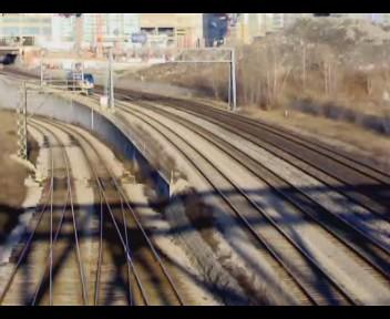 VIA locomotive leaving Toronto