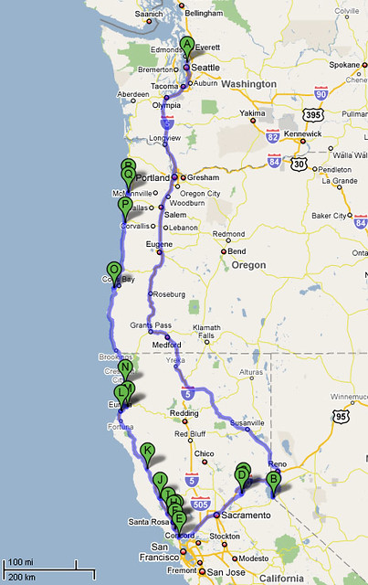 Map Of California Road Trip.California Road Trip Map Map Detailing The Planned Stops O Flickr