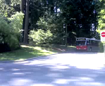 Trolley arrives at the Stanley Park loop