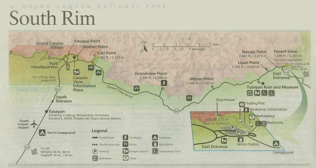 Grand Canyon Map South Rim Living Maedeans Style Flickr