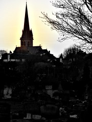 St Matthias spire from Richmond Cemetry (glow)