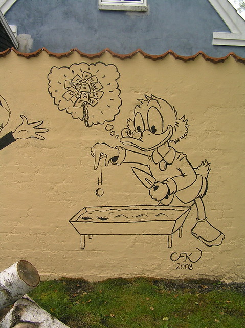 Scrooge planting coins (wall painting)