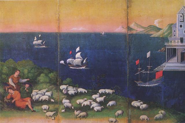「西洋風俗屏風(黒田家本泰西風俗屏風・狩猟図のある西洋風俗図屏風)」 17世紀初期
