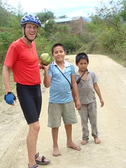 In Peru, young friends ran to catch us to give us a papaya!