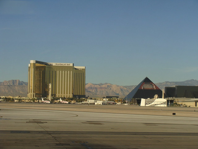 Mandalay Bay and Luxor from the airport
