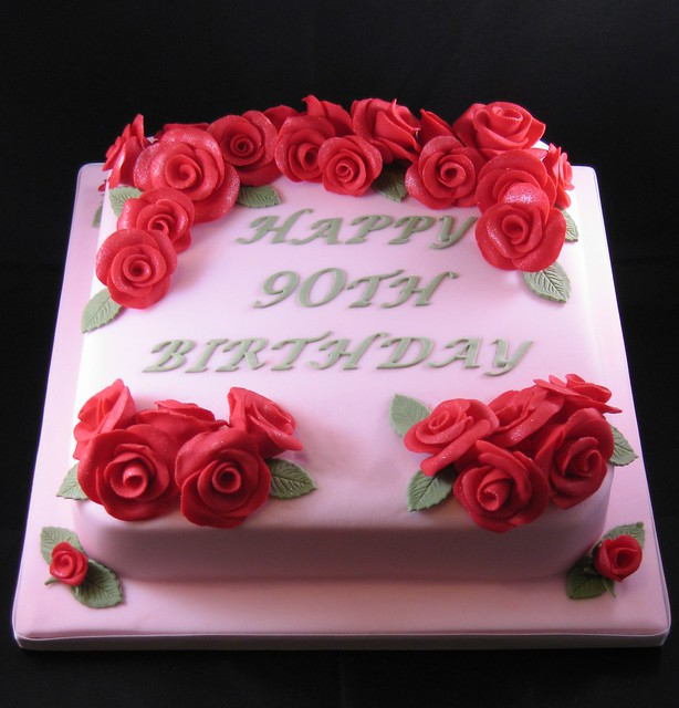 90th Birthday Red Roses Cake
