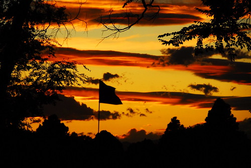 park city sunset orange green beautiful yellow night golf colorado hole flag nine pueblo course short breeze putting 8th pfogold