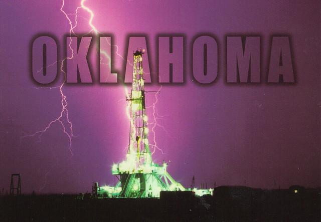 Oklahoma Oil Derrick Lightning Strike Postcard