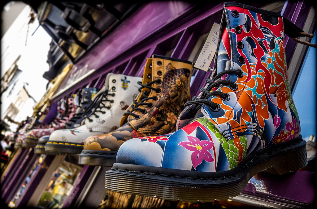 nice cheap detailed pictures pretty cheap Dr Marten Psych High boot, tattoo print.   The Dr Marten