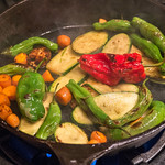 Colorful Vegetables Cooked in a Cast Iron Pan