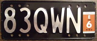 NEW ZEALAND 1992 Motorcycle plate
