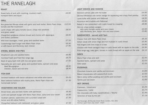 September 2008 menu at the Ranelagh, Bounds Green, London N11 | by Kake .