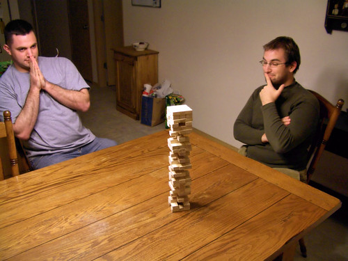Matt and Logan playing Jenga | by volkspider