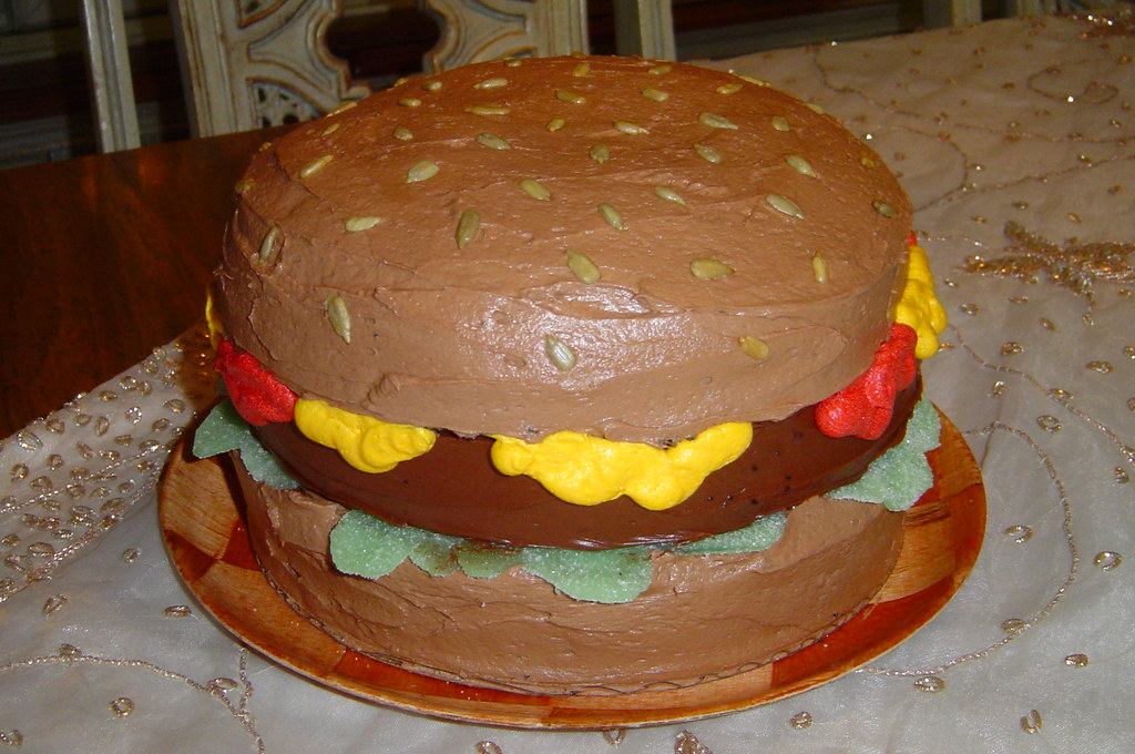Brilliant Mikes Hamburger Birthday Cake This Cake Was A Big Hit N Flickr Funny Birthday Cards Online Inifodamsfinfo