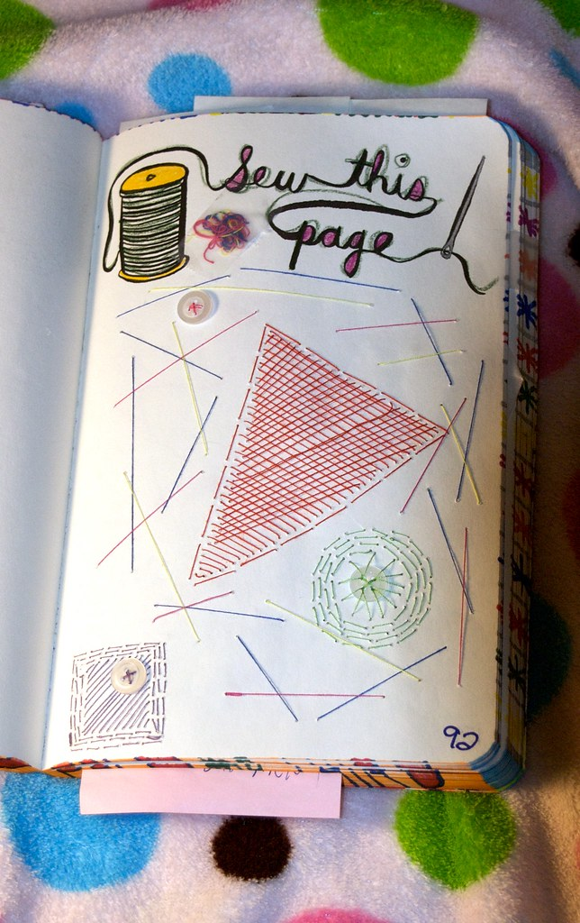 Sew What?   Wreck This Journal: Sew this page. This one is ...  Wreck This Journal Sew This Page