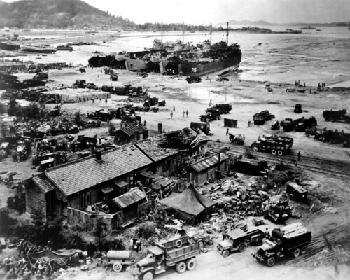Korean War - 127-GK-234P-A408288 LST'S unloading at Wolmi-do, Inchon, Korea | by U.S. Army Korea (Historical Image Archive)