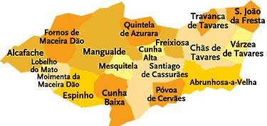 Concelho De Mangualde Portugal Mapa Das Freguesias Jorge