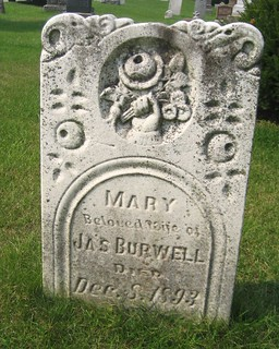 Mary (Shipley) (Fitton) (Young) Burwell wife of James Burwell - buried in 1893 at the Union Cemetery, Yarmouth, Elgin, Ontario, Canada | by Elgin OGS