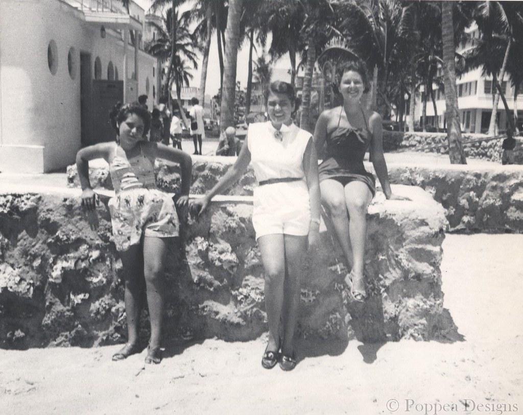 Vernacular Photograph Vintage Photo Beautiful Couple in Miami Beach 1950/'s Original Found Photo
