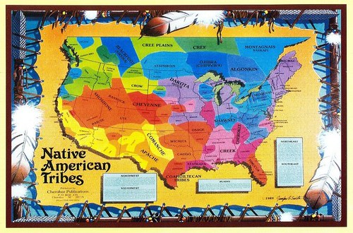 Usa Native American Tribes Map Justmeskj Postcards Flickr - Map-of-us-native-american-tribes