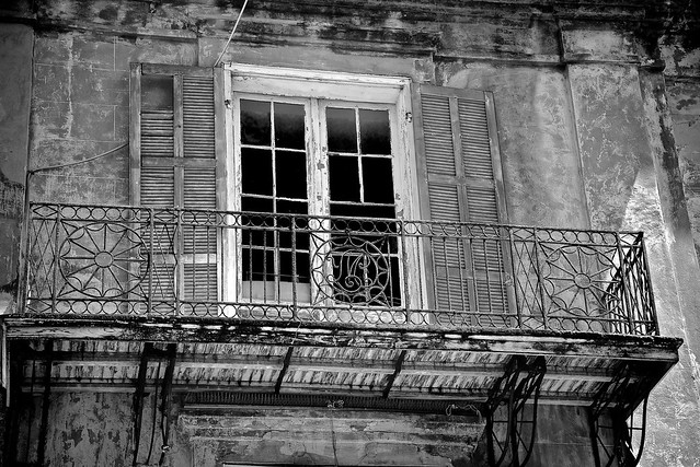 Very Old New Orleans French Quarter Balcony w/ Mardi Gras Beads