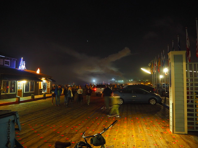 PC114219 Santa Barbara wharf cloudy sky Parade of Lights evening fog fireworks clouds under Venus
