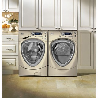 GE PFWS4605LMG Profile 4.3 Cu. Ft. Champagne Stackable With Steam Cycle Front Load Washer - Energy Star | by Goedeker's