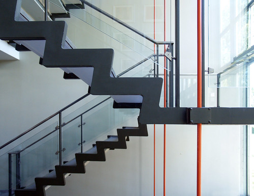 arne jacobsen, central steel staircase, rødovre town hall, 1952-1956 | by seier+seier