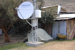 Camping behind the local satellite telephone system in Pachapaqui