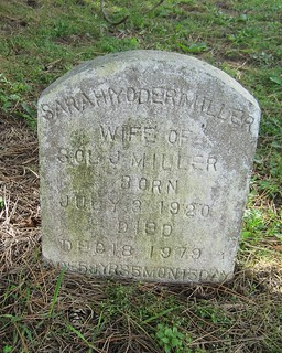 Sarah Yoder Miller, wife of Sol J. buried at the Amish Cemetery, Malahide, Elgin, Ontario, Canada   by Elgin OGS