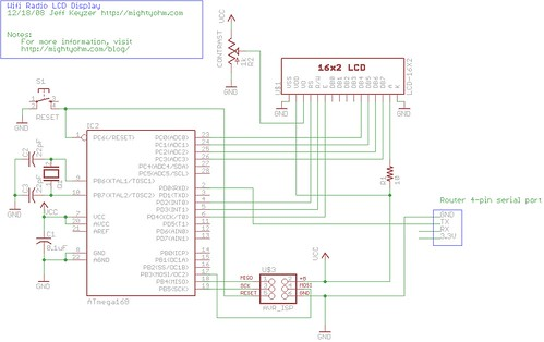 Wifi Radio LCD Display Schematic   More info here: mightyohm…   Flickr