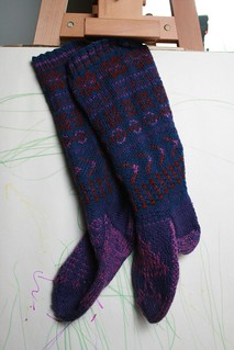 purple Fair Isle socks | by milele