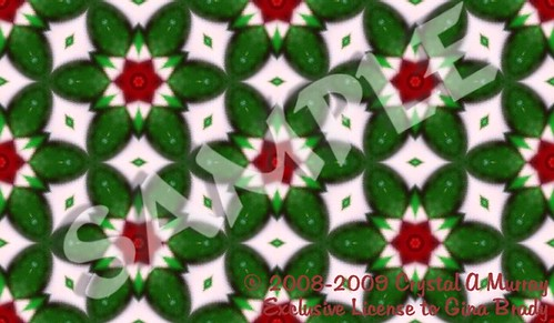 Small Red Hex in Green Stars & Petals with White Diamond Accents-Sample Tile | by Crystal Writer