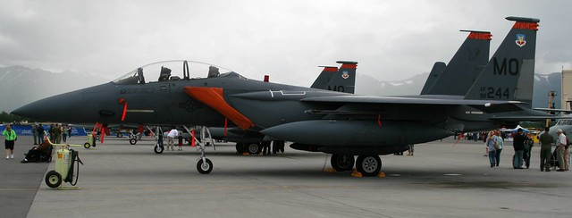 A gray F-15 on a very gray day in Anchorage