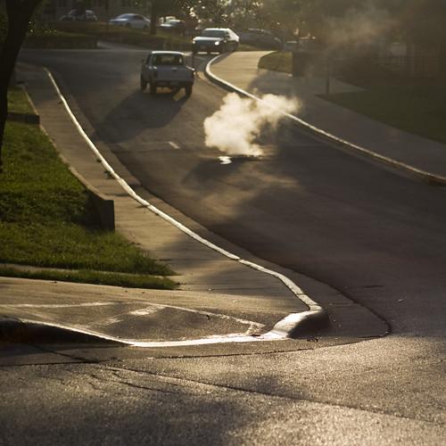 road street shadow sunrise d50 morninglight smoke steam series curb 50mmf18af lightonsurfaces introdigsum08