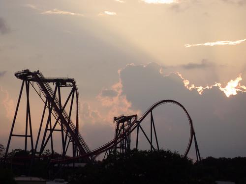 sunset gardens clouds landscape steel bm rollercoaster coaster buschgardens busch buschgardenstampa bga sheikra bgt buschgardensafrica bolligerandmabillard divecoaster divemachine