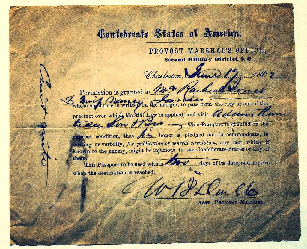 Civil War Greenville, CSA martial law passport 1862 | Flickr