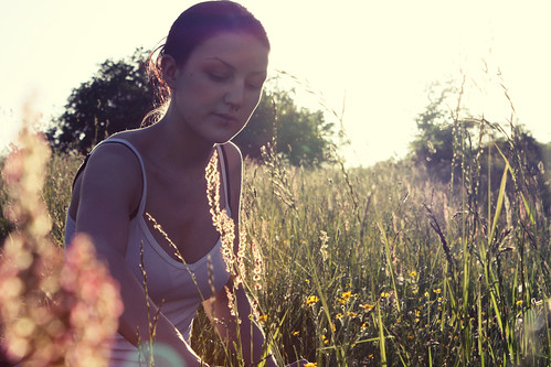 sunlight girl grass picnic meadow