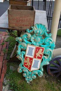 "Cohasset antique shop: Coat of arms & ""Simpson Spring Beverage"" wooden box | by Chris Devers"