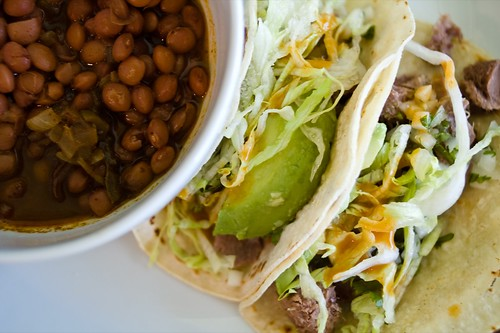 tongue tacos and santa maria pinquito beans | by AmyRothPhoto