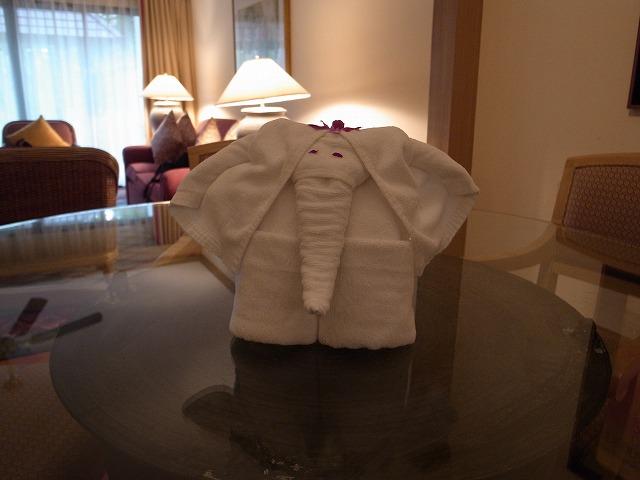 <p>a)今回もタオルの象さんが、お出迎え</p>