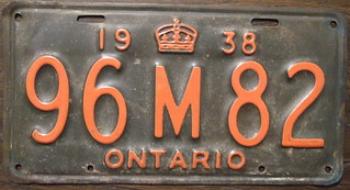 ONTARIO 1938 license plate